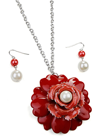 Red Pendant  Fashion Jewelry, Red Flower Pendant