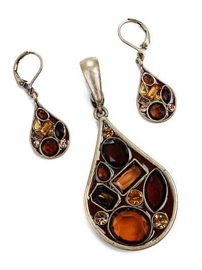Topaz Look Fashion Jewelry, Pendant Set Topaz Jewelry