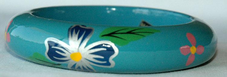 Bohemian Jewelry Bracelet, Fountain Blue Painted Bracelet