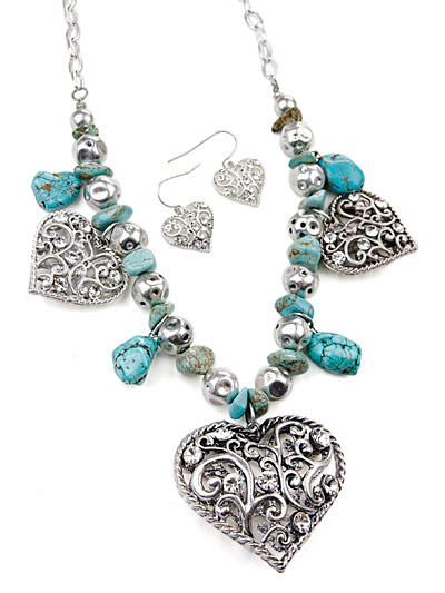 Fashion Rhinestone Jewelry, Heart Turquoise Jewelry