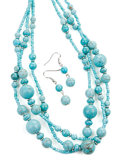 Blue bead jewelry, Turquoise Beaded Fashion Jewelry