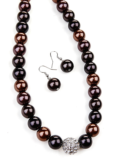 Beaded Brown Jewelry, Rhinestone Brown Jewelry
