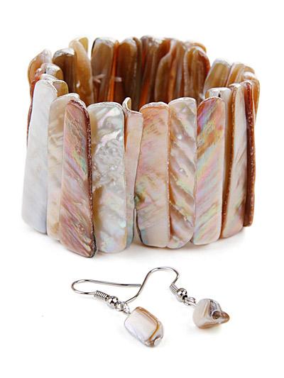 Brown earrings bracelet set, Shell Brown Bracelet