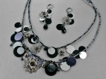 Black and Silver Beaded Necklace Set