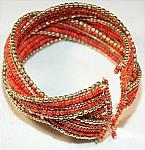 Orange Beaded Cuff Bracelet