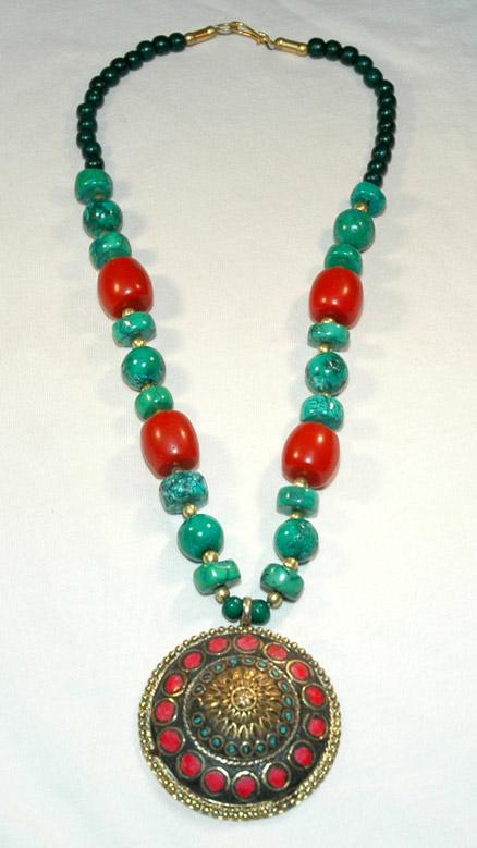 Necklace Jewelry with Medallion, Maharaja Beaded Fashion Jewelry