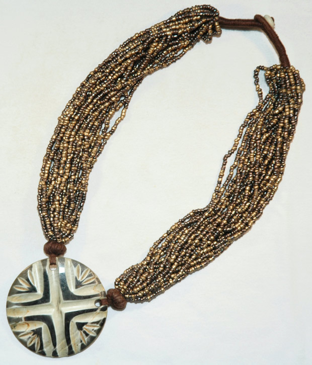 Bronze multistrand necklace, Bohemian Hippie Jewelry