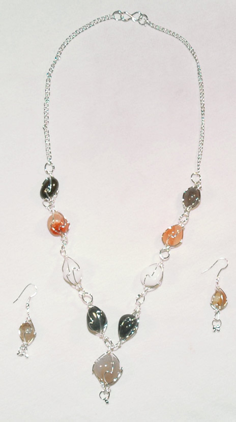Multicolor stone silver tone necklace, Silver Tone Beaded Jewelry