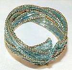 Blue Beaded  Wired Cuff Bracelet