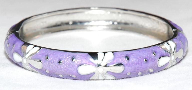 Lavender Enameled Hinged Bangle Bracelet, Lavender Enamel Bracelet