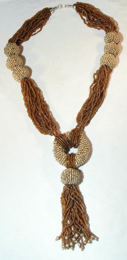 Bronze hippie jewelry, Multi Strand Beaded Necklace