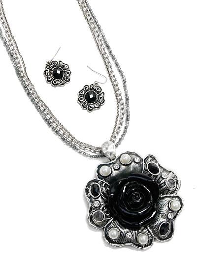 Antique Look Fashion Jewelry, Black Flower Jewelry