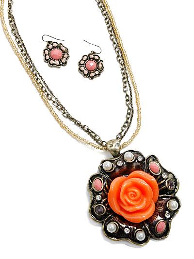 Antique Look Fashion Jewelry, Orange Flower Jewelry