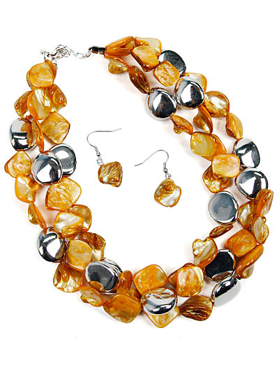 Yellow Fashion Jewelry, Beaded Chunky Jewelry