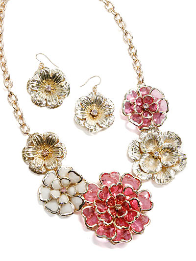 Pink Flower Jewelry, Stylish Pink Costume Jewelry