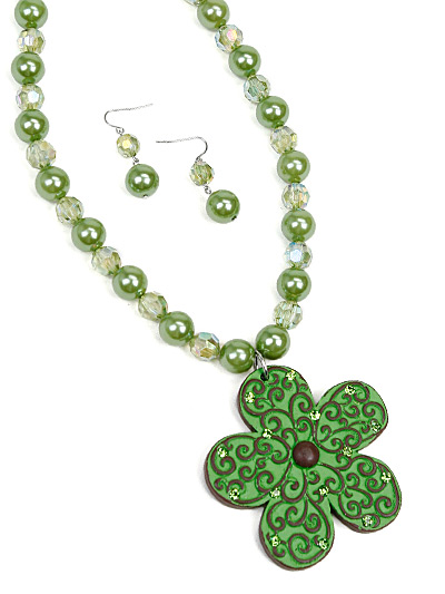 Lime Green Necklace Set, Lime Green Flower Jewelry