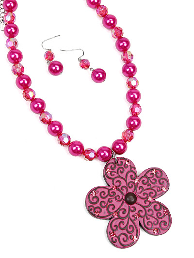 Pink Necklace Set, Pink Flower Jewelry