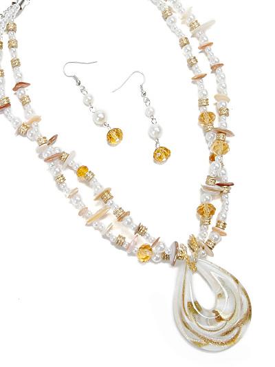 White Glass Pendant, Glass Pendant Fashion Necklace