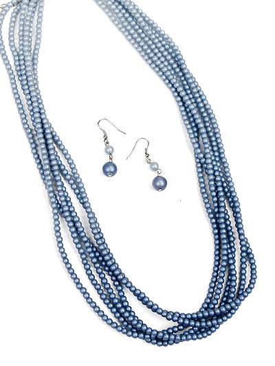 Classic Jewelry in Blue, Blue Multi Strand Necklace