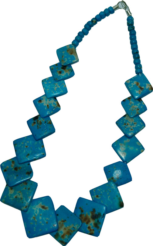 Turquoise Bone Jewelry, Venice Blue Bone Necklace