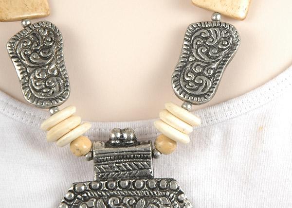 Ivory Bone Metal Tribal Boho Necklace