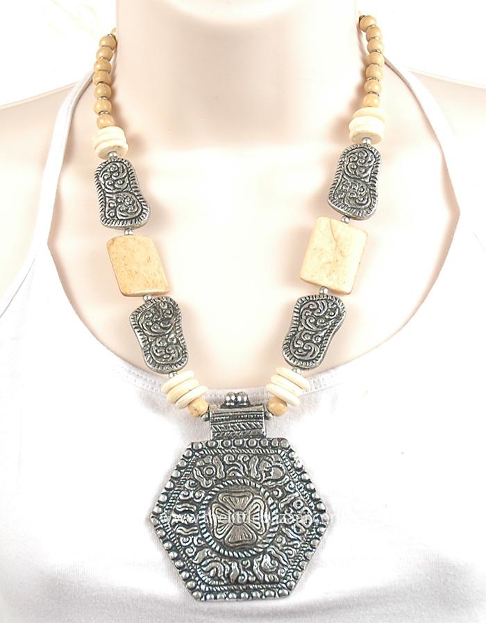 White Bone Metal Jewelry, Ivory Bone Metal Tribal Boho Necklace