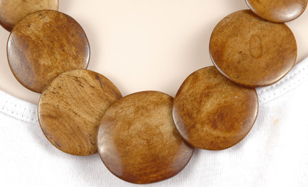 Natural Wood Handmade Costume Necklace