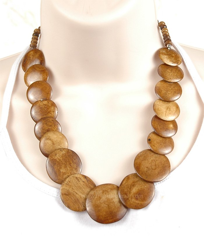Natural Wood Color Disc Necklace, Natural Wood Handmade Costume Necklace