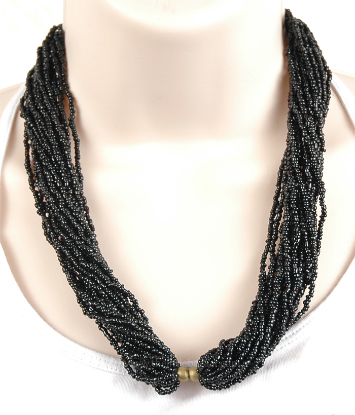 Black Color Indian Beads Necklace, Black Beads Statement Necklace