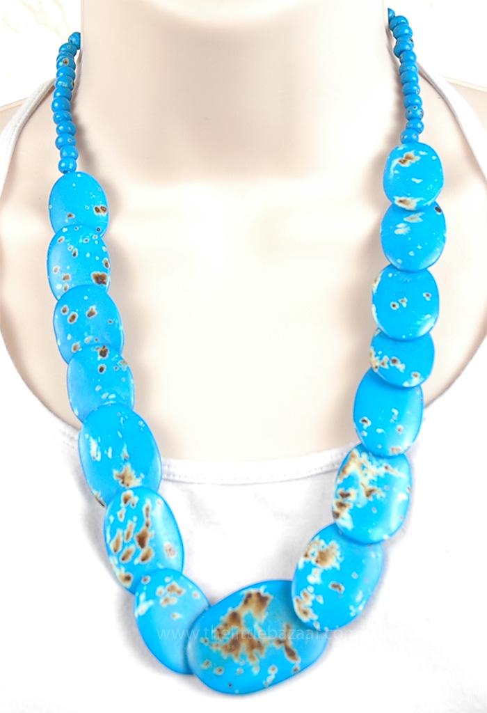 Blue Bone Jewelry, Blue Discs Vintage Boho Necklace