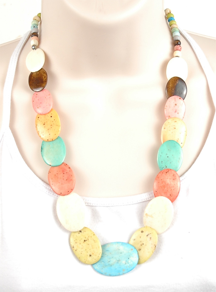 Multiple Color Indian Necklace, Pastel Multicolored Bone Necklace