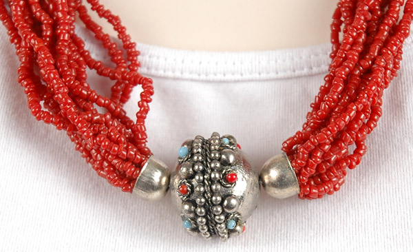 Red Glass Bead Tribal Necklace