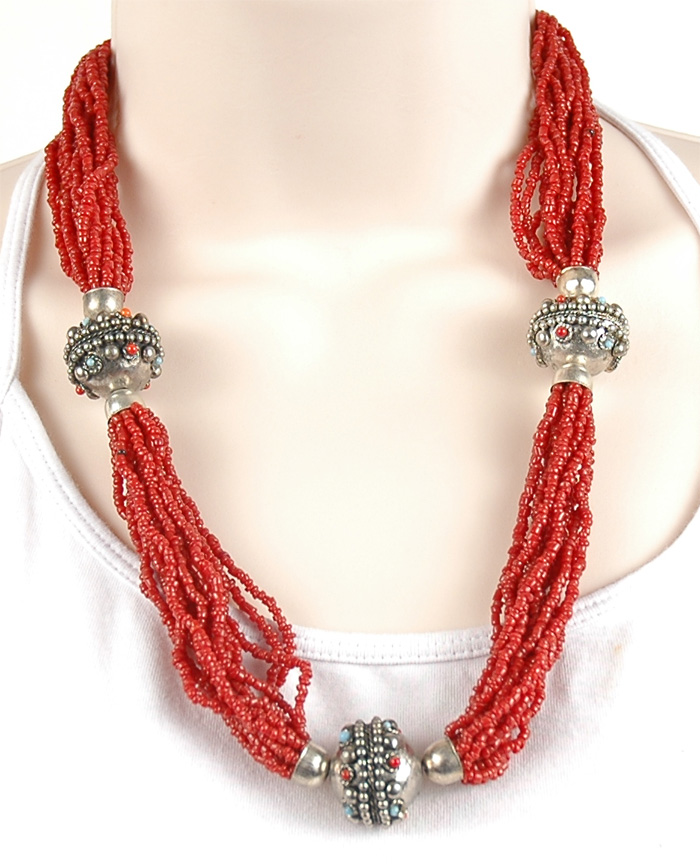 Red Color Indian Necklace, Red Glass Bead Tribal Necklace