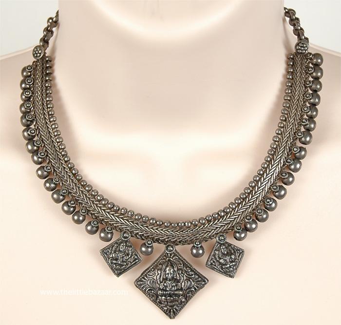Boho Gypsy Tribal Necklace, Temple Art Oxidized Gypsy Vintage Necklace