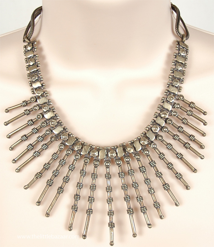 Pointed Studs Tribal Warrior Girl Necklace, Artistic Traditional Free Spirit Jewelry