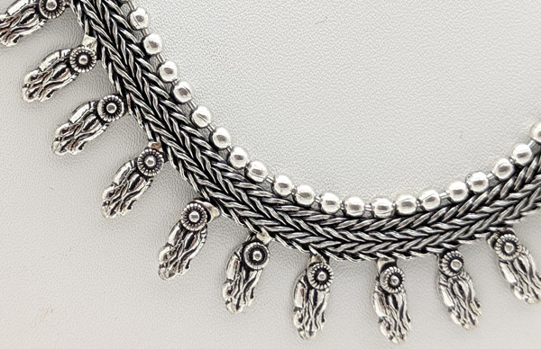 Nomadic Caravan Braided Silver Toned Necklace