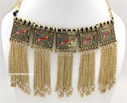 Oxidized Gold Tribal Choker Necklace with Fringe