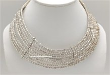 Silver Egyptian Memory Wire Jewelry Collar Necklace