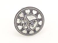Love Bird Finger Ring in Oxidized Silver