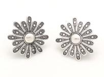 Flower Power Silver Oxidised Earrings