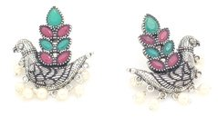 Messanger Love Bird Silver Earrings with Pearls
