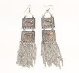 Tribal Hanging Silver Earrings with Multicolor Stone