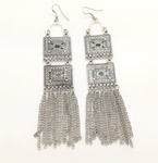 Tribal Hanging Chains Silver Metal Party Earrings