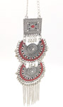 Silver and Maroon Tribal Neckpiece with Details