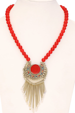 Vintage Pendant Necklace with Bright Red Beads