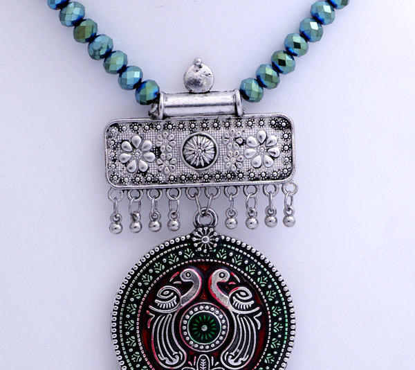 Boho Glitter Turquoise Necklace with Silver Merlot Pendant
