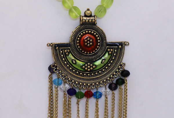 Lime Green Bead Tribal Pendant Necklace Gold Toned
