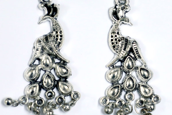 Peacock Ethnic Earrings with Beads in Silver