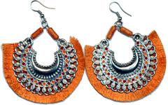 Saffron Fringe Hoops Large Gypsy Earrings
