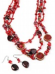 Bead Jewelry Red Multistrand
